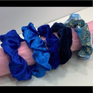 Scrunchies set of 5 shades of blue
